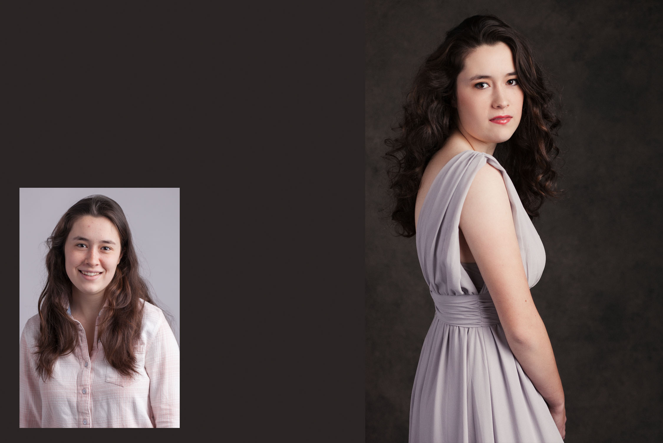 Transformation for female photos, before and after makeup, hair. posing and lighting by glamour photographer Alice Pepplow
