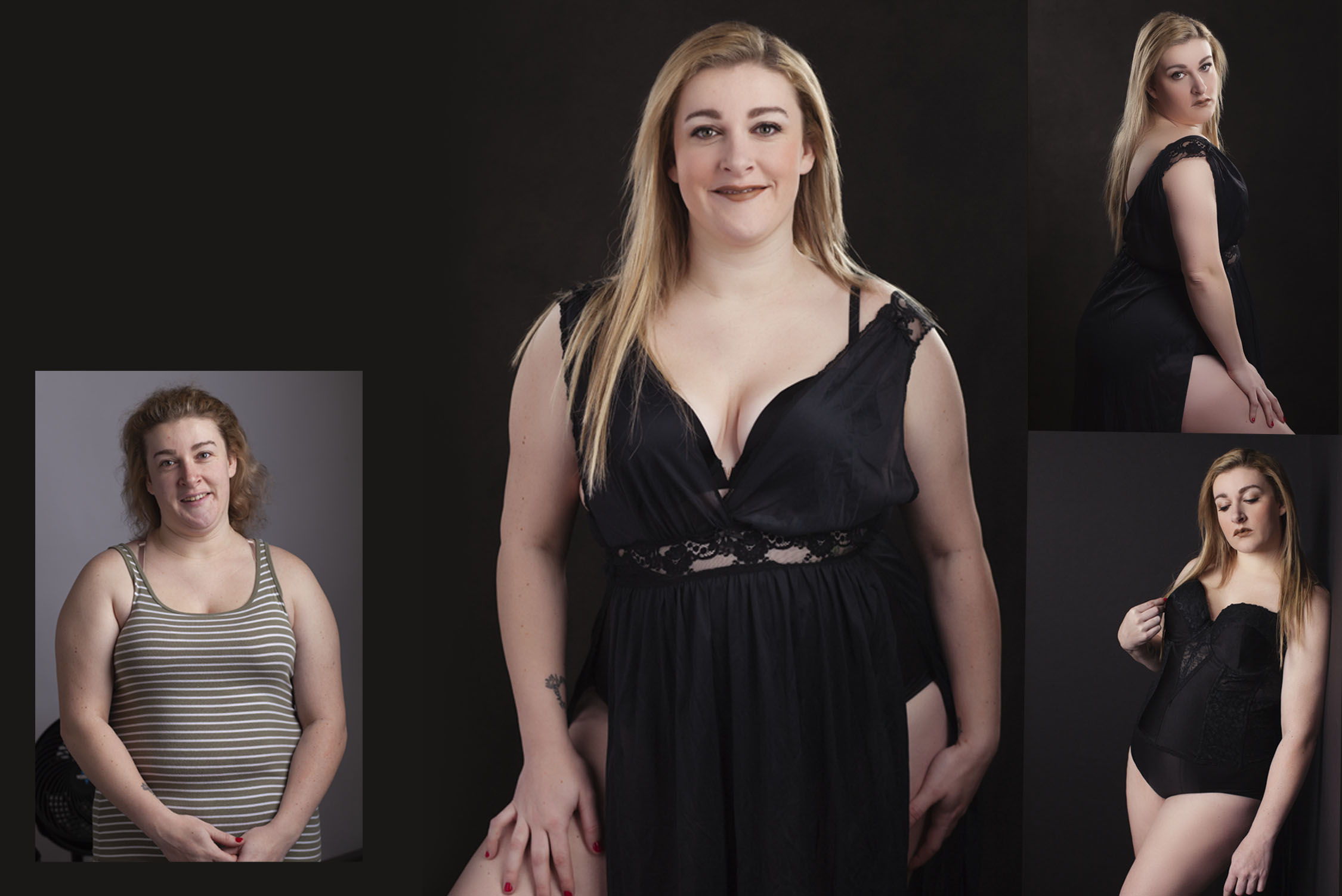 Before and After make over for a glamour boudoir photo session