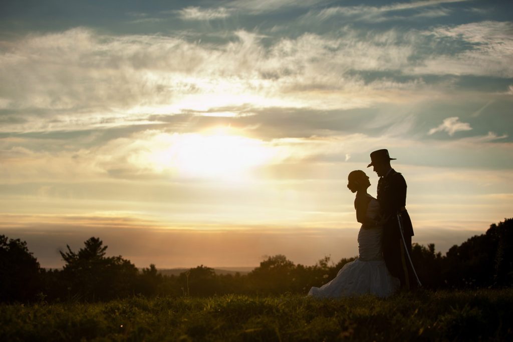 photo of a military wedding during sunset, at Harrington Farm wedding pictures