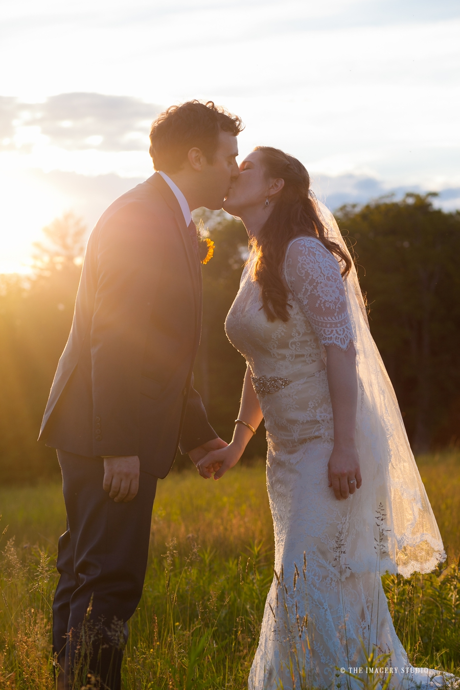 Sunset pictures of a bride and groom at harrington farm