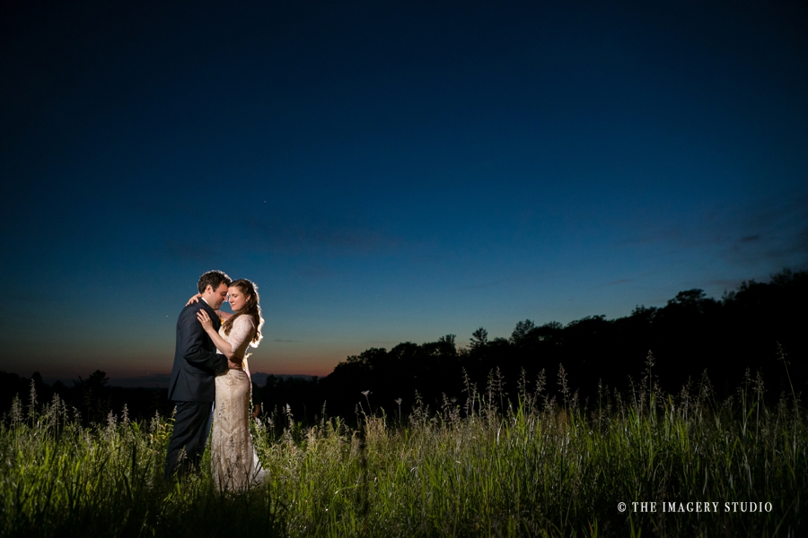 sunset picture with bride and groom at harrington farm weddings