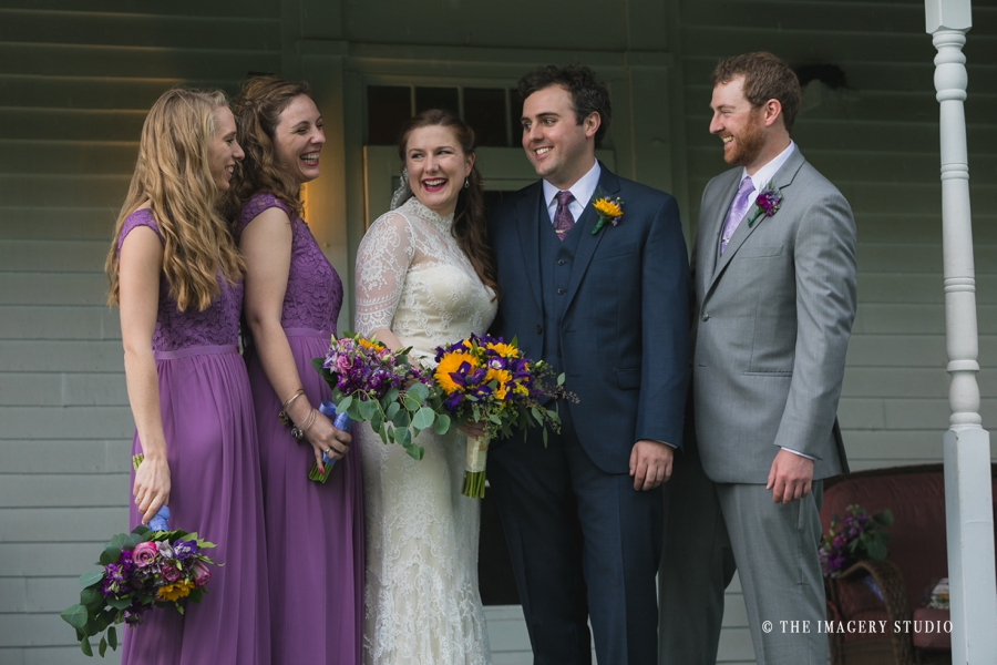 candid photos of bridal party in the porch at harrington farm weddings