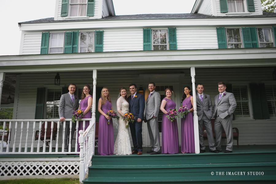 bridal party at the porch harrington farm weddings