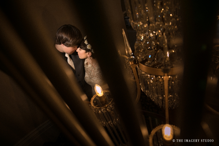 romantic photos by Boston wedding photographer at Asa Waters Mansion wedding, photo of bride and groom in the staircase, off camera flash, mag mod