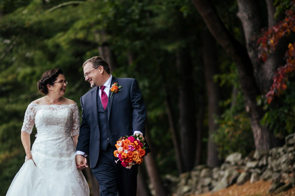 Publick House wedding Sturbridge MA, walking along the stone wall