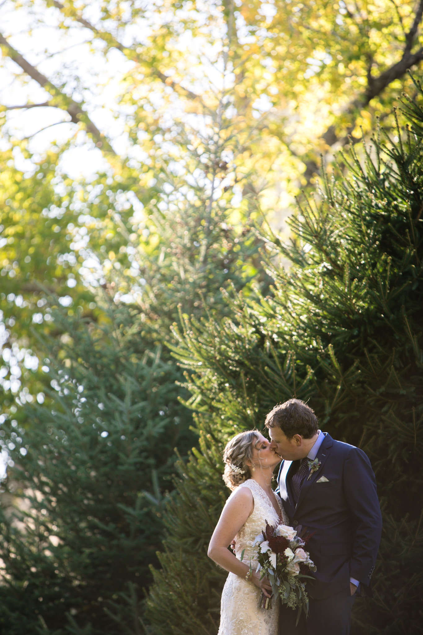 Bride and groom photos at Harrington Farm Wedding, lush greenery and stunning light
