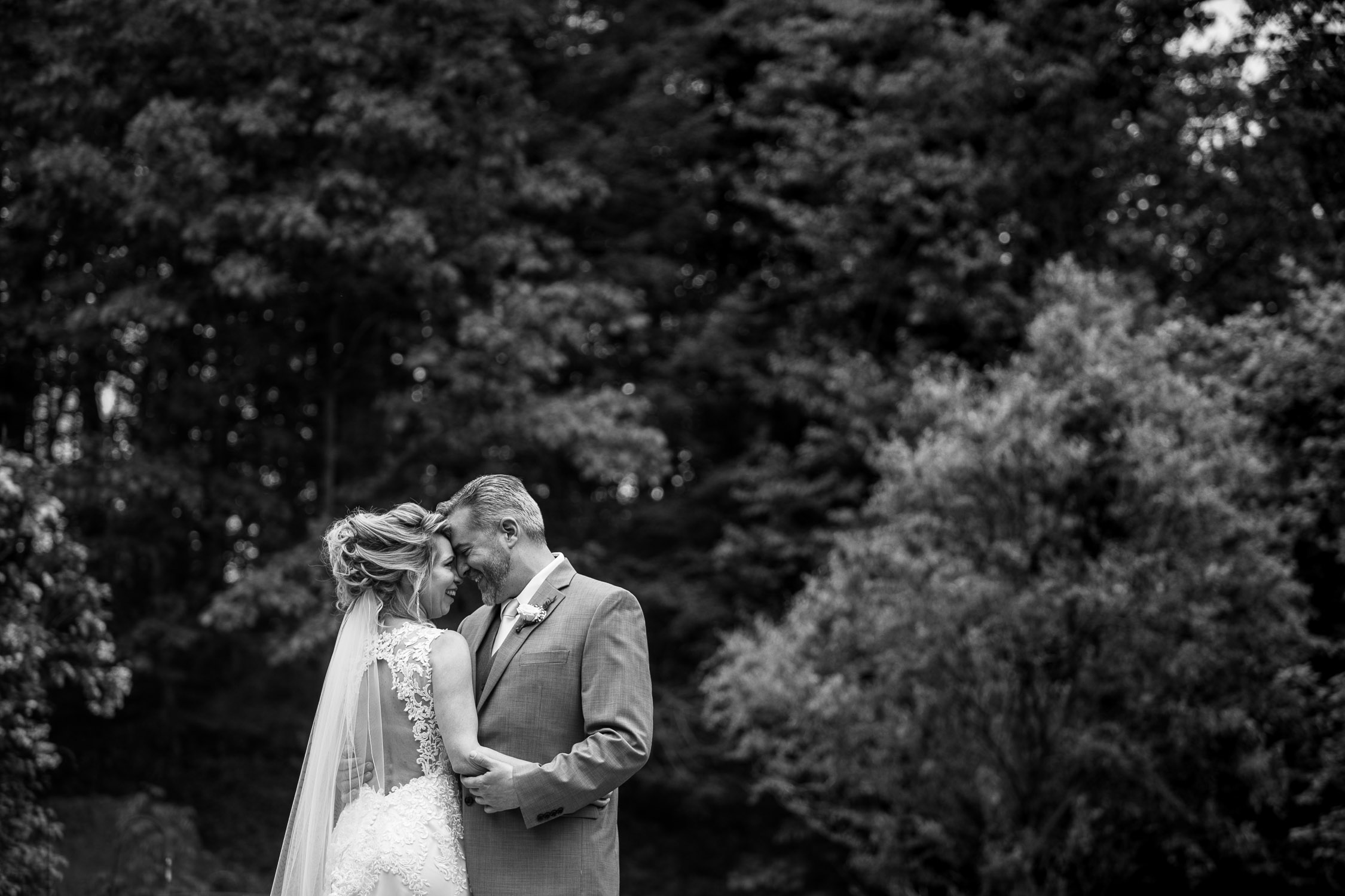 first look of bride and groom at Hartmans Herb Farm Wedding