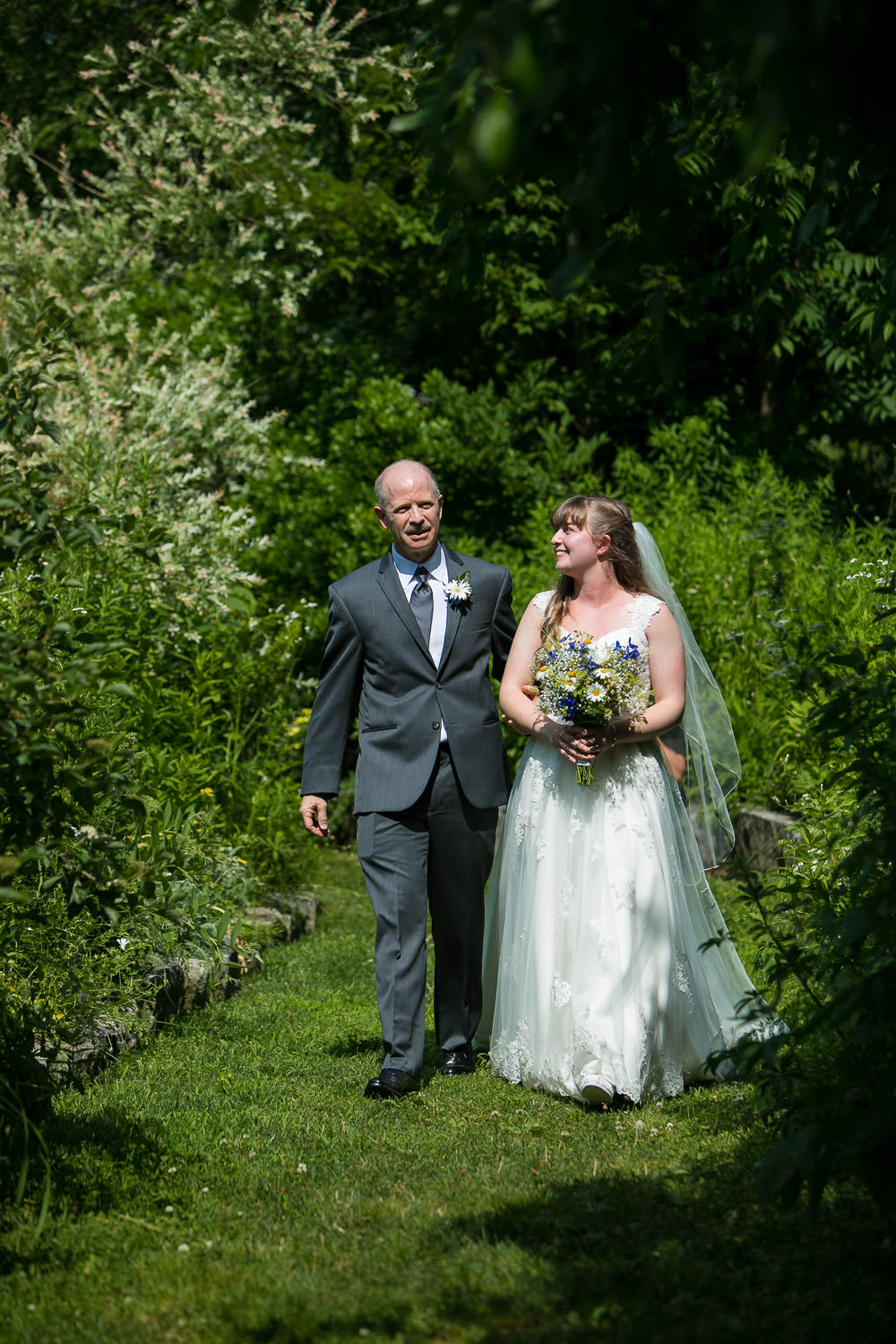 bride and father at a wedding, walking down the aisle, hartmans herb farm weddings,