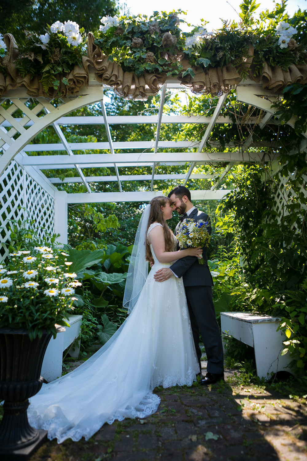 hartmans herb farm weddings, lovely romantic portraits of bride and groom at the gardens