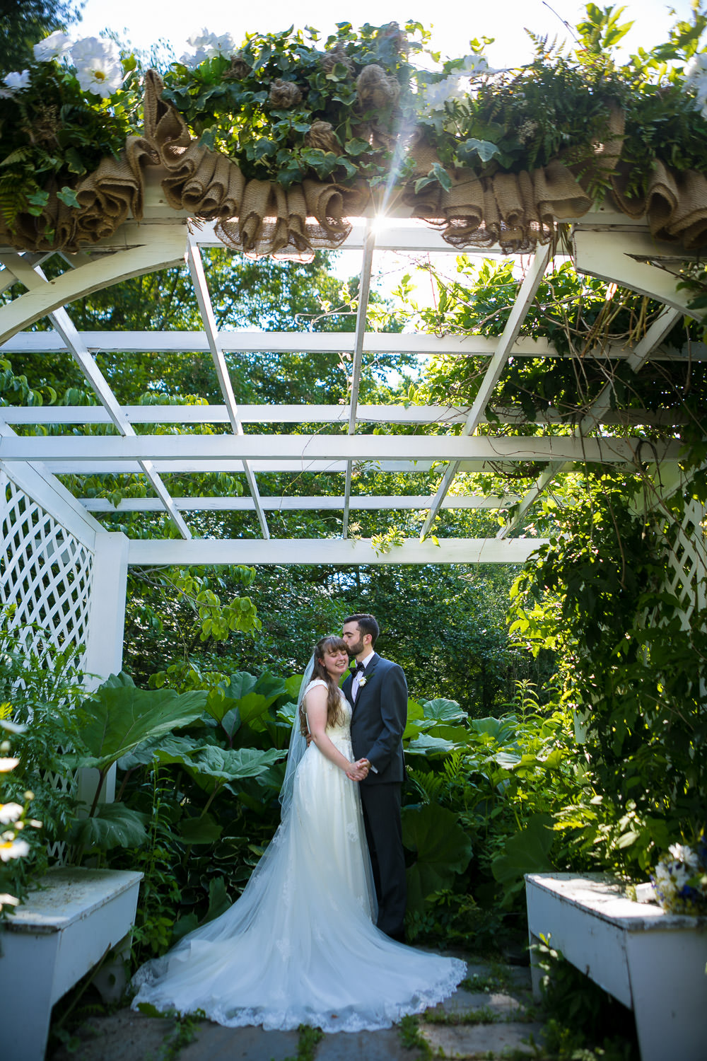 hartmans herb farm weddings, under the gazebo, bride and groom portraits