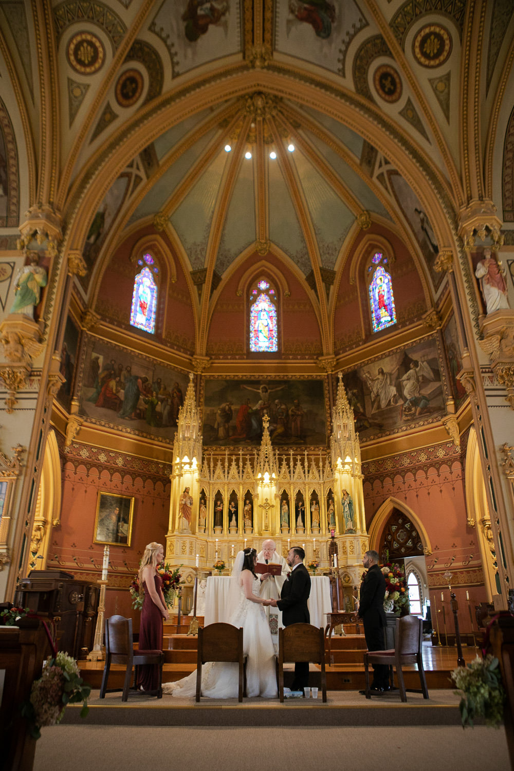 St John's Church Clinton MA, photo of full altar during a wedding