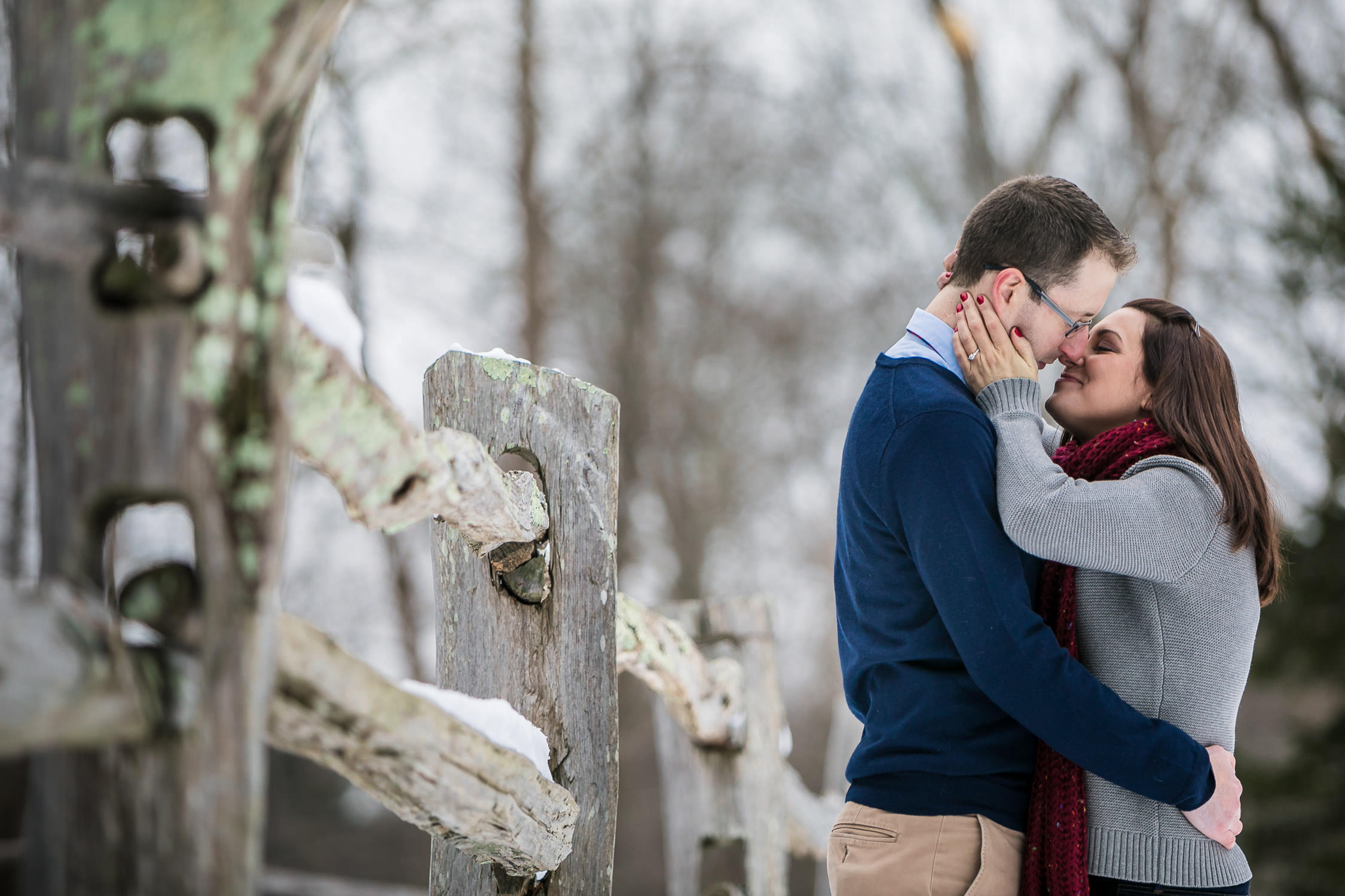 engagement session in the winter, sudbury ma wayside in grist mill, fresh snow portraits, intimate and romantic
