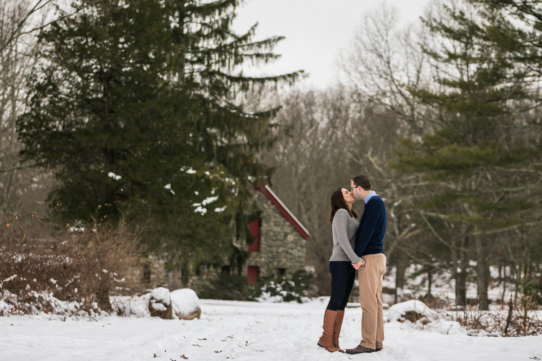 engagement session in the winter, sudbury ma wayside in grist mill, fresh snow portraits