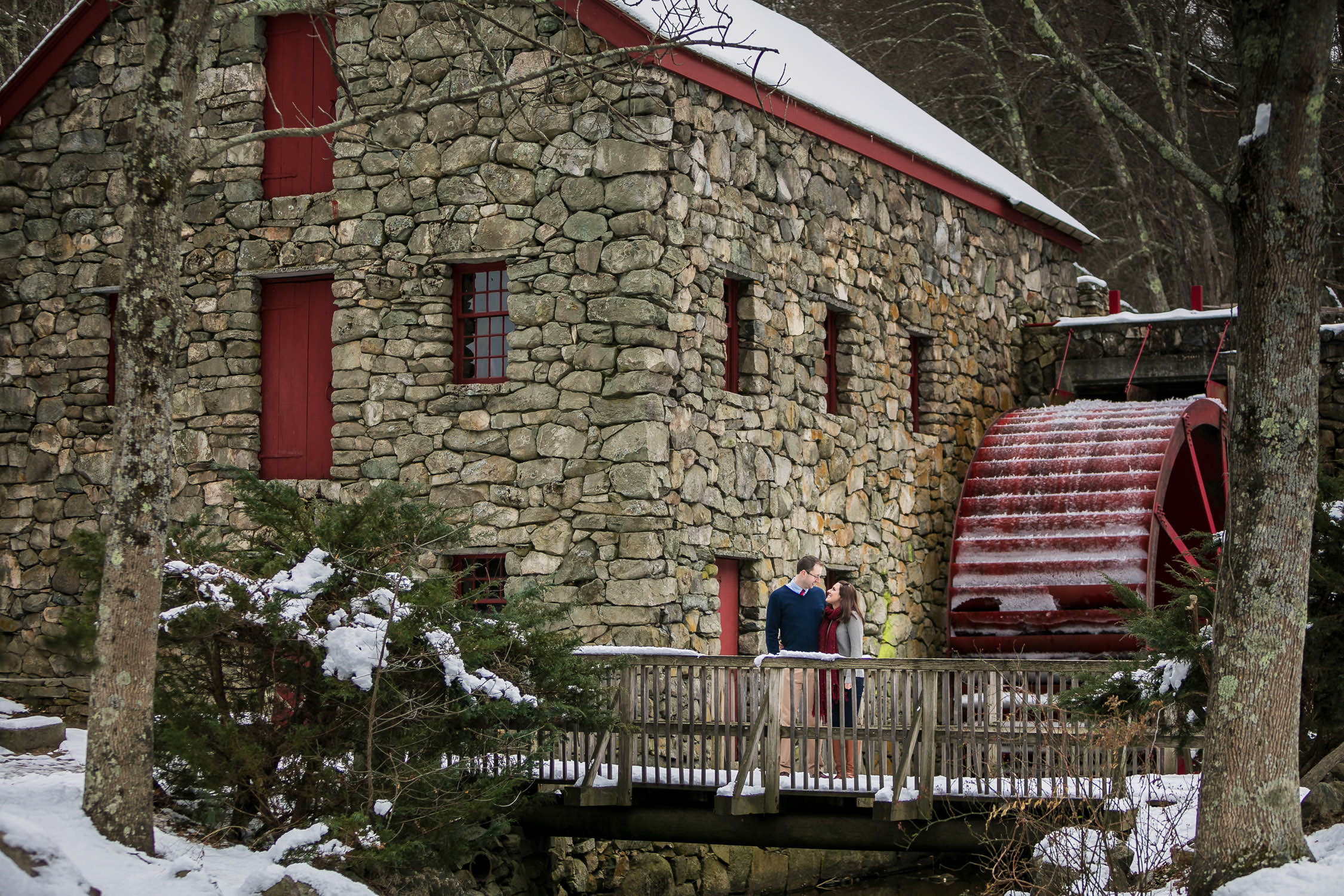 engagement session in the winter, sudbury ma wayside in grist mill, fresh snow portraits with scarfs and sweaters