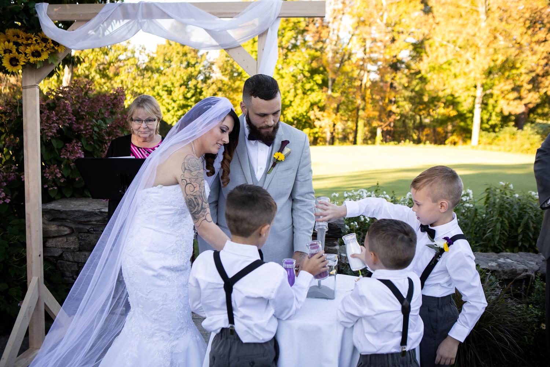 Cyprian Keyes wedding ceremony, sand unity ceremony