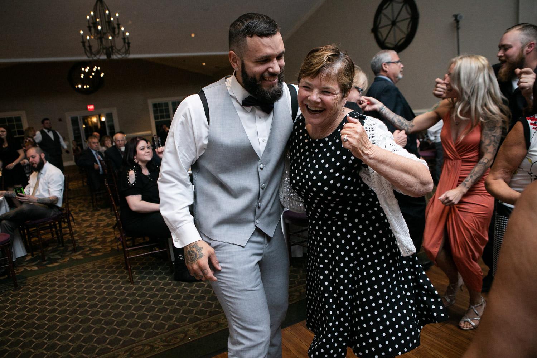 Cyprian Keyes wedding, groom dancing with grandmother