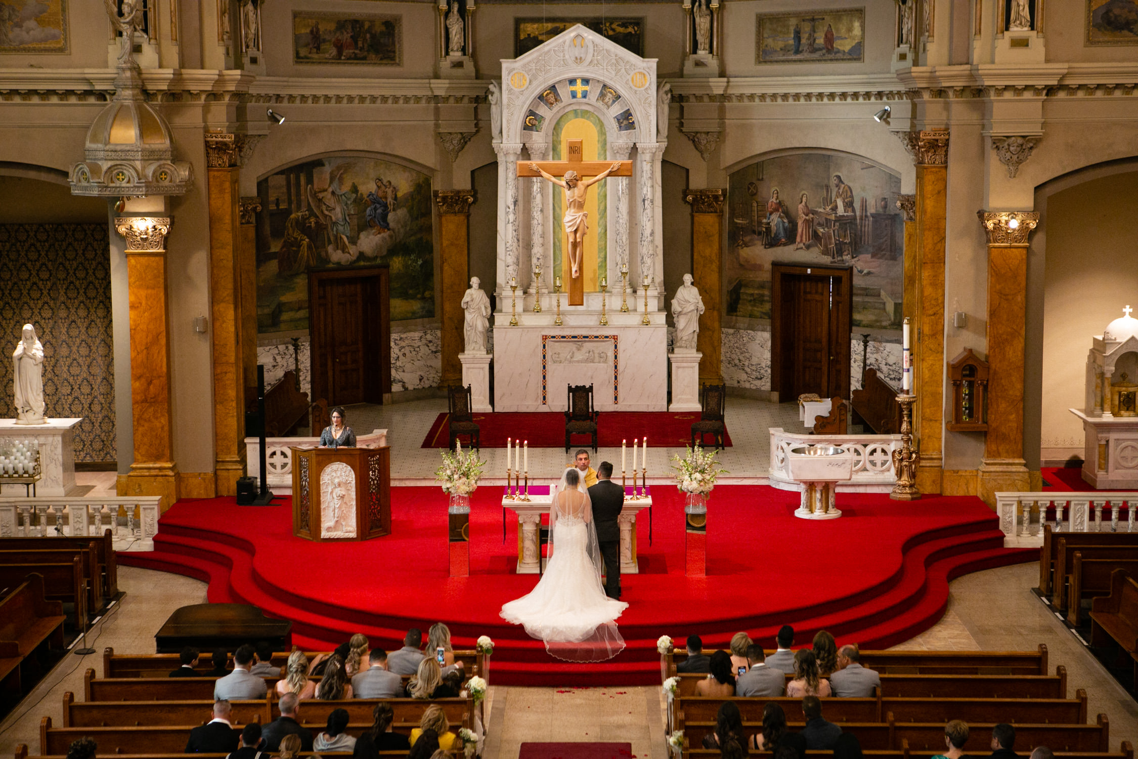 Worcester wedding photographer - Holy Family Parish at St. Joseph's Church  view from balcony